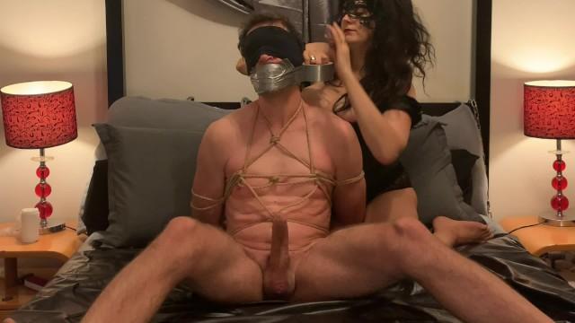 Transvestite boston panty Bondage slave gagged with mistresss dirty panties and handjobbed