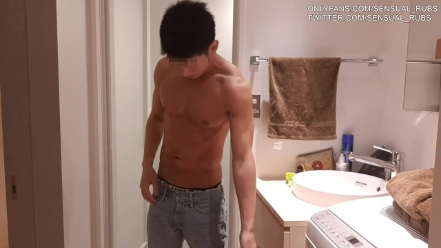 Amateur gay stripping Japanese muscle man strips and washes his body in shower