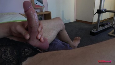 My horny hard cock cums like crazy watching porn (close up)