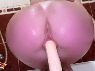 Babe Fingering and Pussy Fucking Dildo in the Bathroom - Intensive Orgasm