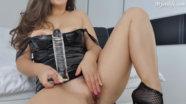 Tits latex dildo Latex, heels and glass dildo - how it looks when im home alone - mysti life