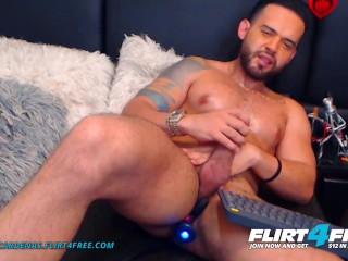 Logan Cardenas on Flirt4Free - Hunk Latino Cam Model Hard Jerks His Cock with Toys up His Ass