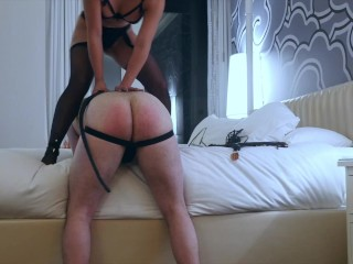 Sexy Asian Dominatrix Trucici whips the asshole of her cuckold slave in Only Fans custom vid