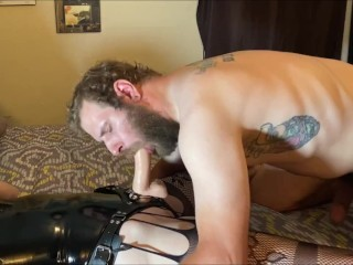 Pegging my dirty huband hard and rough until he cums