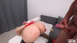 Bound Brunette Deepthroat Big Cock and Ass Fucking - Cum Inside