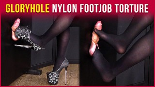 GloryHole Nylon Footjob Cock and Balls Torture | Era