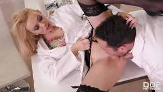 Big titty Nurse Amber Jayne banged hardcore by the doc in the kinky clinic