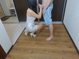 Step mom in high heels sucks her step son cock and fucks him in the hallway