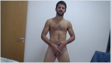 Hairy handsome athlete plays and fingers foreskin