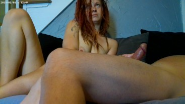 Hot Red Teen With Dreads Jerks Off Daddy . She Loves Throbbing Cock And Cum All Over Her Hands