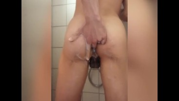 Masturbating in the Shower and fingering my ass until i cum