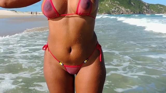 Bikini see through wet when Pink see trhough bikini
