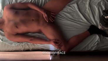 GUY CUMS ON HIMSELF WHILE TALKING DIRTY WITH HEAVY MOANING