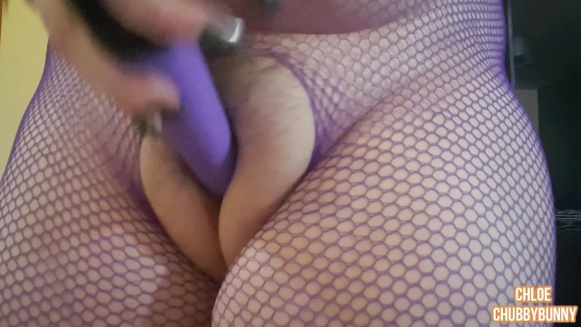 Keez puffy cunt Bbw huge puffy pussy play in crotchless fishnets