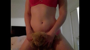 Teen girl humps teddy and cums for daddy