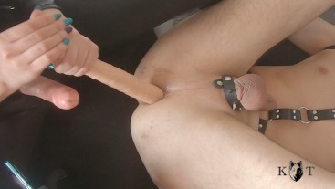 Pegged and Milked with Double Dildo - He Cum All Over Himself