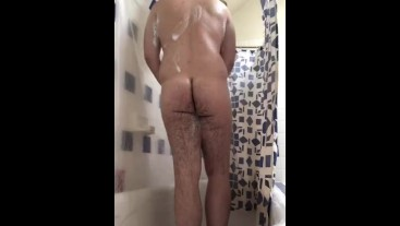 Chubby Teen Plays Around in the Shower