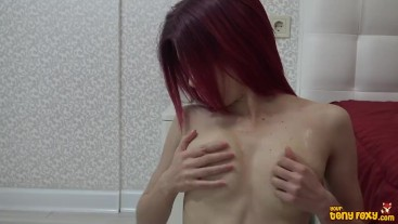 Rubbing My Tits With Cream To Make Me Hot (nude redhead)