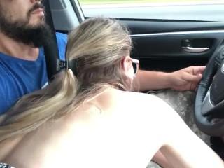 road-head road-trip car-blowjob driving close-up close-up-blowjob quickie quickie-blowjob