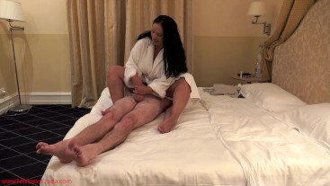 Thrice ruined and fed his own cum in My bed