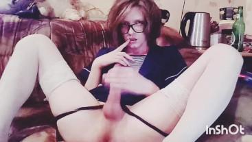 Femboy Crossdresser Fapping Cute Big Dick