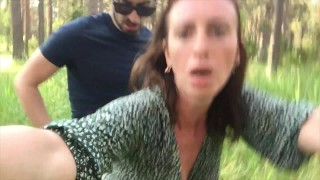 Selfie Forest Sex with Stranger - Just Lift My Dress and Fuck Me