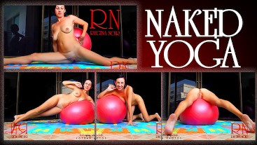 Naked yoga Naked gymnastics. Young beauty on fitball. Part 2