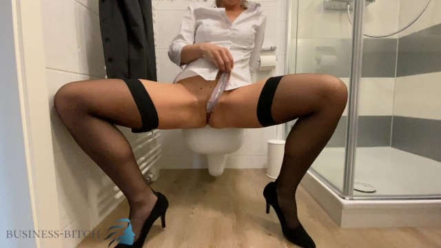 Business cards strip Business slut stripping after work and stuffing her panties in her wet pussy