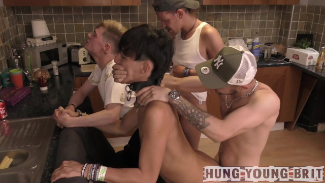 Gay hand job orgy pic 2 perverted sex addicts pump n drench 2 lads nealling on chairs arses out