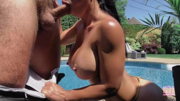 Fit Teen fucks the pool boy in her parents backyard