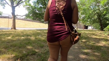 Wife in short dress ass jiggling and flashing panties