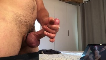 Huge cumshot with cock ring on, watching tranny porn