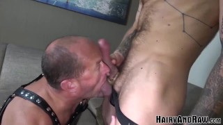 HAIRYANDRAW Josh Blaze Bends Over For Rimjob Before Bareback
