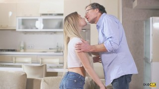 OLD4K Sexy chick tastes old penis and gets it in sensitive pussy