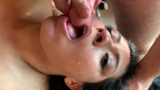 (FULL VIDEO)Wife has Husband and His Friend Hardcore Face Fuck Her for a Hour! Both Cum on Her Face!