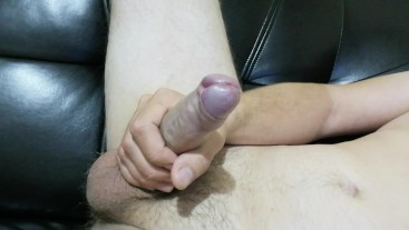 jerking uncut cock at home