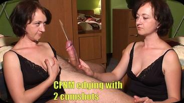 CFNM edging with 2 cumshots