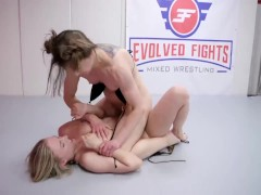 Cheyenne Jewel Lesbian Wrestling Fight vs Riley Reyes Going Rough with a Strapon Fucking