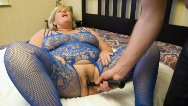 Big Tit Milf In Body Stocking gets her Wet Pussy poked by naughty guy.
