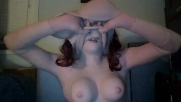 Busty Nights Pt4! Wearing and playing around in my female silicone hands gloves while masked!