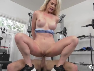 Big Tit Blonde MILF Gets Her Pussy Licked and Pumped By Stepson in The Gym