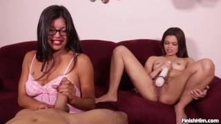 2 Latina's Having a of Fun with a Handjob