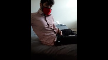 Classy Masked Harth massages cock after leaving the office