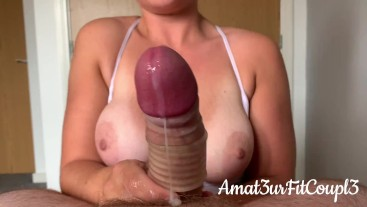 Edging Handjob with cock cage and 2 ruined Orgasms - Huge Cumshots