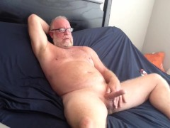 Hung Mature Bear Jacks His Big Cock Off Nice Cumshot Big Dick Solo Male Beard Silver Daddy