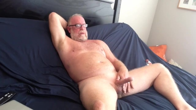 Older men masturbate Hung mature bear jacks his big cock off nice cumshot big dick solo male beard silver daddy