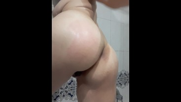 Shower mastrubate roughly self ass spanking