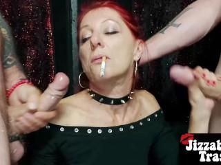 Homemade MILF Double SMOKING Blowjob + Facial Cumshot