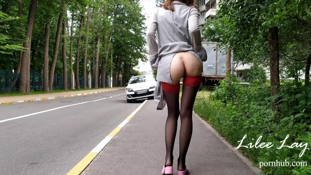 Teens layed naked Crazy exhibitionist naked walks around the city. no panties, risky.