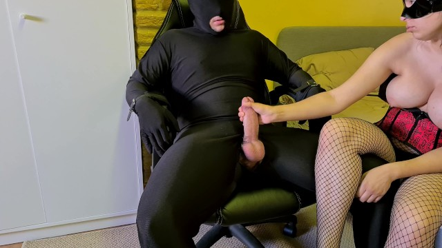 Cruel mistress femdom Chastity slave tied up, tortured and denied by cruel femdom mistress in fishnets